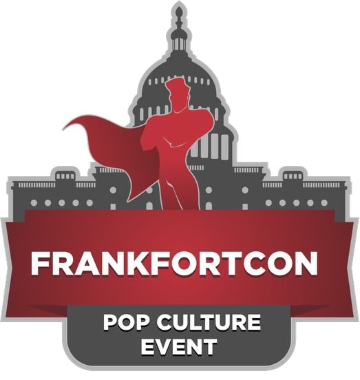 Frankfort Con Superman logo with Capital outline in the background