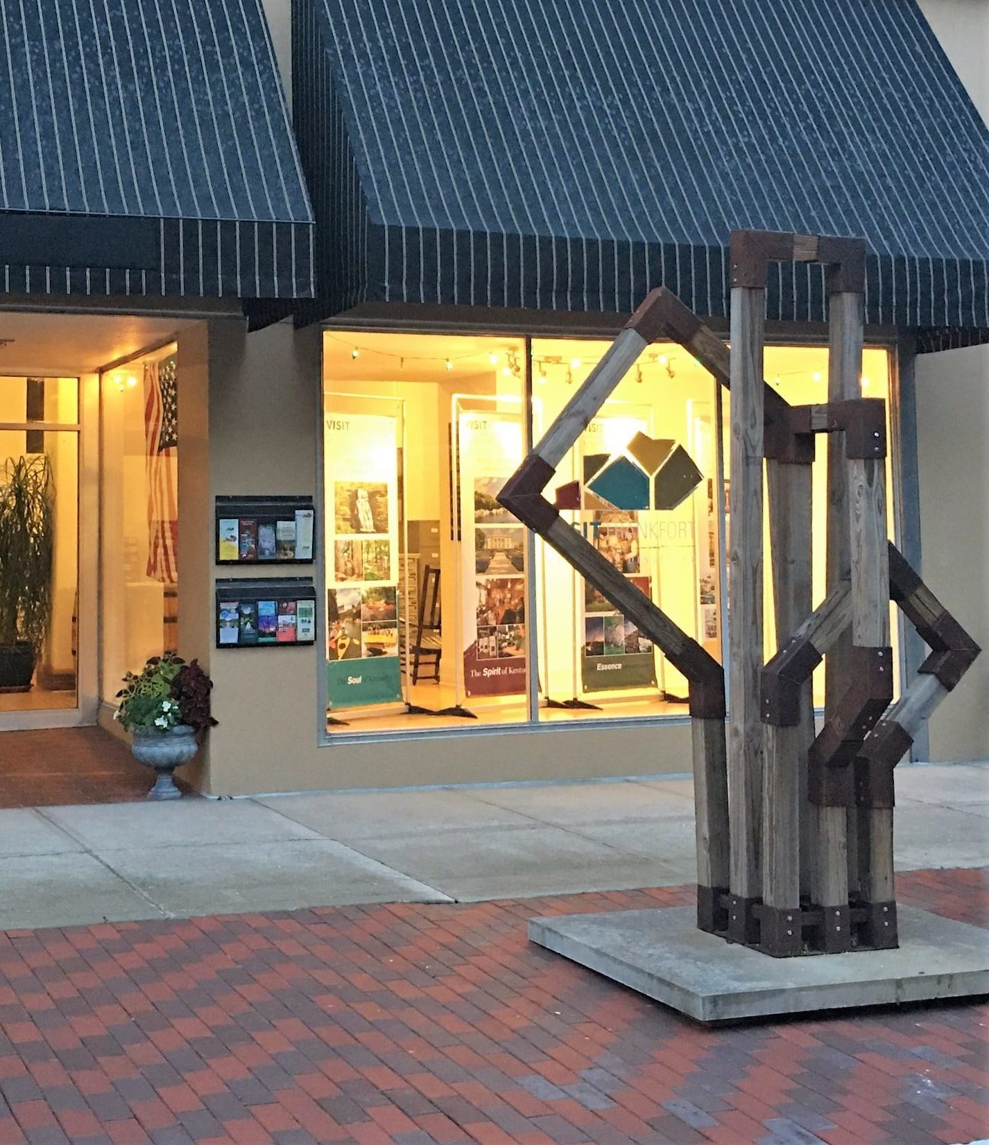 InMotion sculpture outside Visit Frankfort office